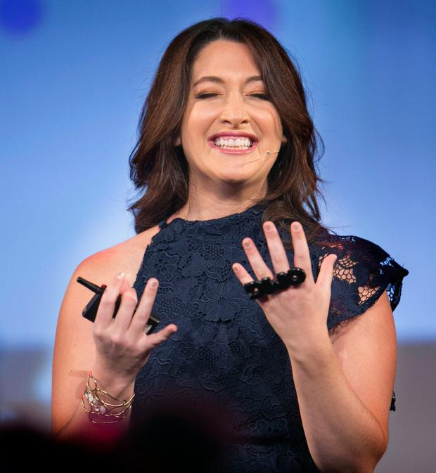 Randi Zuckerberg (sister of Mark) speaking at the Pendulum Summit 2018 at the Convention Center. Photo: Kyran O'Brien