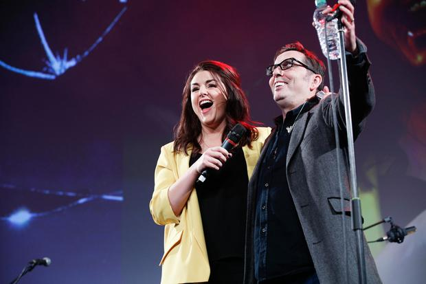 MC Sile Seoige with Aslan's Christy Dignam on the main stage at Pendulum Summit 2018 Photo: Conor McCabe