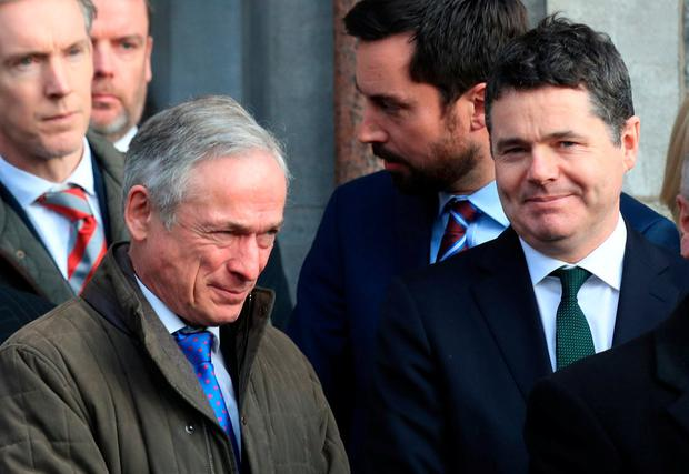 Ministers Richard Bruton and Paschal Donohoe pictured this afternoon at the funeral of former Attorney General, Peter Sutherland at the Church of the Sacred Heart, Donnybrook. Photo: Colin Keegan, Collins Dublin.