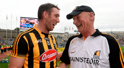 Michael Fennelly celebrates with Brian Cody after the 2015 All-Ireland final. Photo: David Maher/Sportsfile