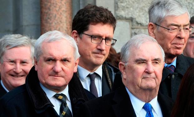 Former Taoiseach Bertie Ahern and Green Party leader Eamon Ryan pictured this afternoon at the funeral of Peter Sutherland. Photo: Colin Keegan, Collins Dublin.
