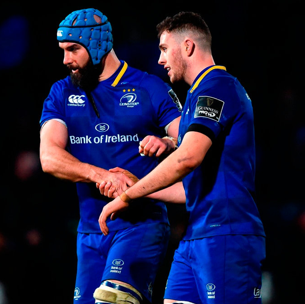 Scott Fardy (left) and Josh Murphy of Leinster after their recent victory over Ulster in the PRO14 match at the RDS. Photo: David Fitzgerald/Sportsfile