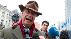 Former UKIP leader and current MEP Nigel Farage speaks with the media outside EU headquarters in Brussels. (AP Photo/Virginia Mayo)