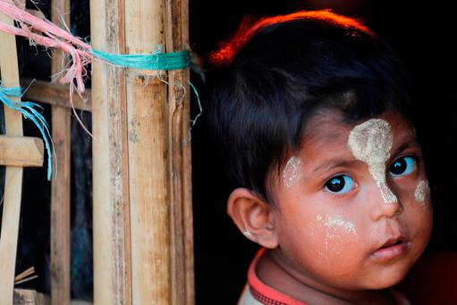 A Rohingya refugee child at a refugee camp in Thailand. Photo: Reuters