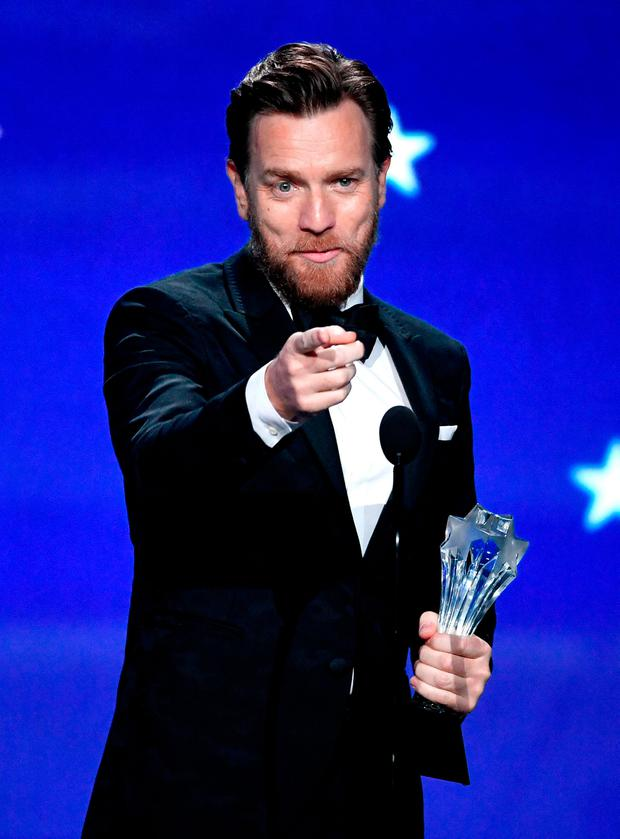 Ewan McGregor accepts Best Actor in a Movie/Limited Series for 'Fargo' onstage during The 23rd Annual Critics' Choice Awards at Barker Hangar on January 11, 2018 in Santa Monica, California. (Photo by Kevin Winter/Getty Images)