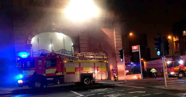 British train station evacuated, closed after massive morning fire