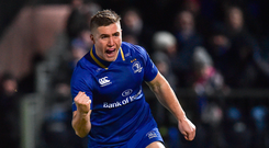 Jordan Larmour of Leinster celebrates after scoring against Ulster