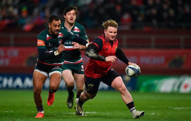 9 December 2017; Chris Cloete of Munster in action against Telusa Veainu of Leicester Tigers during the European Rugby Champions Cup Pool 4 Round 3 match between Munster and Leicester Tigers at Thomond Park in Limerick. Photo by Diarmuid Greene/Sportsfile