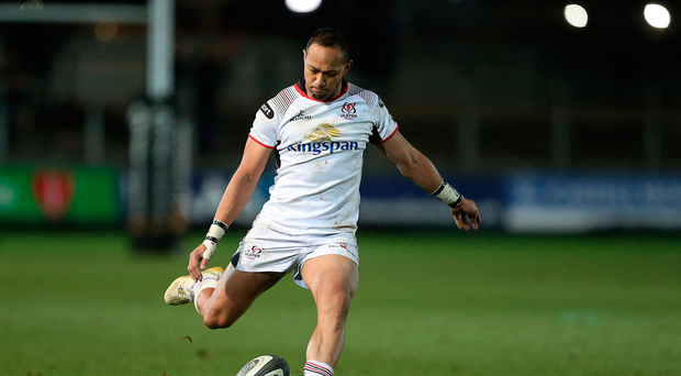 1 December 2017; Christian Lealiifano kicks a successful conversion to draw his side level during the Guinness PRO14 Round 10 match between Dragons and Ulster at Rodney Parade in Newport, Wales. Photo by Chris Fairweather/Sportsfile
