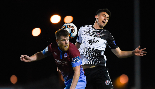 Chris Mulhall of Drogheda United in action against Warren O'Hora of Bohemians