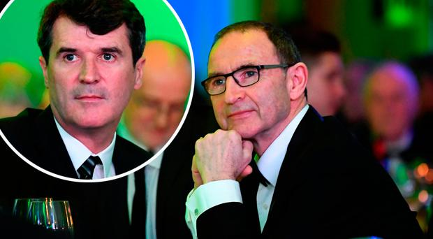 Martin O'Neill at the awards and (inset) Roy Keane