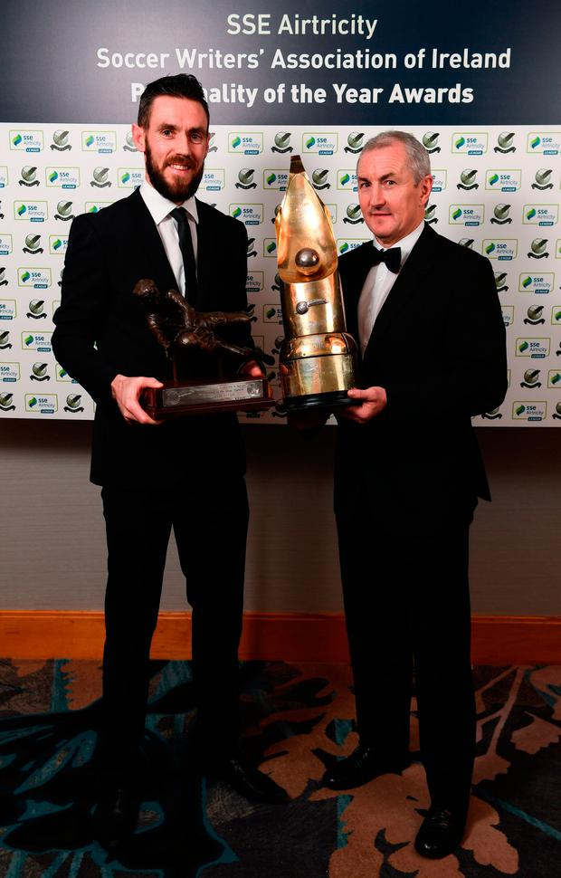 Cork City goalkeeper Mark McNulty and manager John Caulfield with their SWAI awards. Photo: Sportsfile