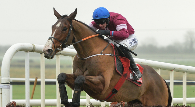 Mengli Khan, with Jack Kennedy up, on the way to winning the Bar One Racing Royal Bond Novice Hurdle at Fairyhouse in December – having missed out at Leopardstown he will be looking to get back to winning ways at Punchestown today. Photo: Sportsfile