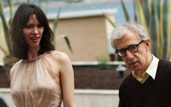 CANNES, FRANCE - MAY 17: Actress Rebecca Hall and director Woody Allen arrive at the photocall for the film 'Vicky Cristina Barcelona' at the Palais des Festivals during the 61st International Cannes Film Festival on May 17 , 2008 in Cannes, France. (Photo by Sean Gallup/Getty Images)