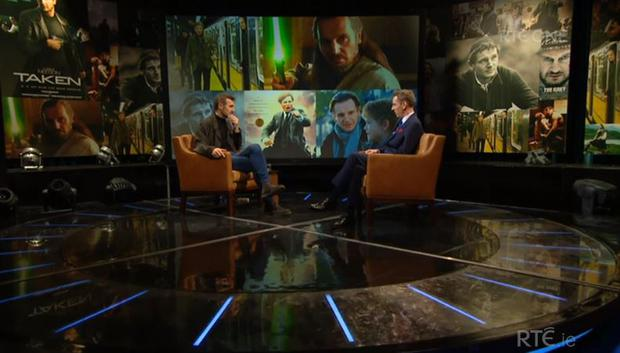 Liam Neeson on the Late Late Show. RTE
