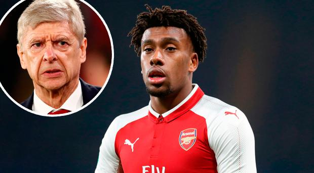 Alex Iwobi and (inset) Arsene Wenger