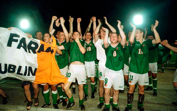 Ireland Under-18 players celebrate after the final whistle after victory over Cyprus