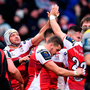 Rory Best of Ulster celebrates with team-mate Darren Cave after his side'   s third try