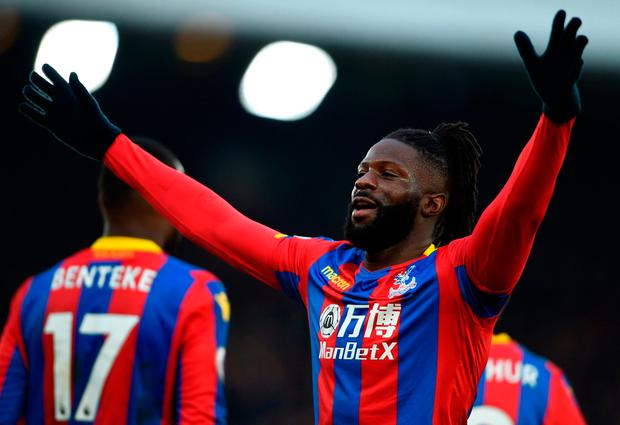 Crystal Palace's Bakary Sako celebrates scoring his side's first goal