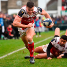 Ulster's Jacob Stockdale goes over for his side's second try during yesterday's Champions Cup at the Kingspan Stadium. Photo: Oliver McVeigh. Photo by Oliver McVeigh/Sportsfile