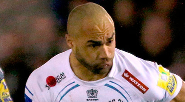 Exeter Chiefs Olly Woodburn scored two tries against Montpellier at Sandy Park. Photo: Richard Sellers/PA