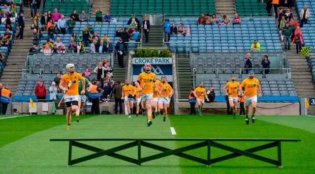 Leitrim make their way on to the field before the 2017 Lory Meagher Cup final: 'There might be days when you'd get a bad beating,' says their manager Martin Cunniffe, 'but you would always come back.' Photo: Piaras Ó Mídheach/Sportsfile
