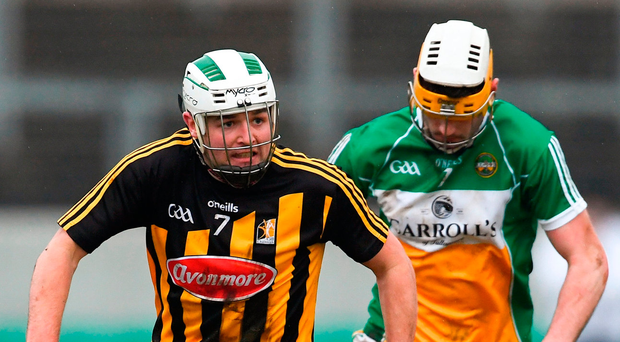 Kilkenny's Padraig Walsh in action against Offaly's Jordan Quinn of Offaly during the Bord na Mona Walsh Cup semi-final match at Bord na Mona O'Connor Park. Photo: Sam Barnes/Sportsfile