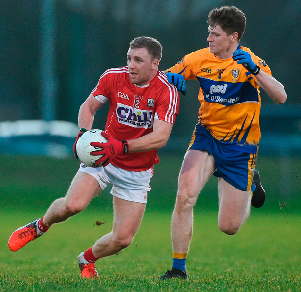 Cork's Michael Hurley in action against Clare's Sean O'Donoghue during the McGrath Cup Final. Photo: Diarmuid Greene/Sportsfile