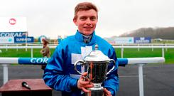 James Bowen after his victory on Gavin Cromwell's Raz De Maree in the Welsh National. Photo: David Davies/PA