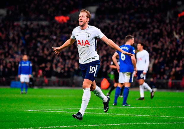 Spurs' Harry Kane celebrates after scoring his sides third goal Photo: Getty