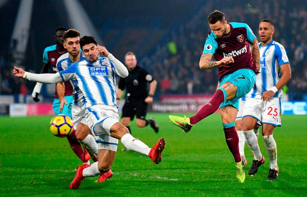 Marko Arnautovic of West Ham United scores their second goal Photo: Getty