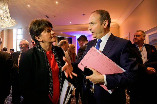 IMPLICATIONS OF BREXIT: DUP leader Arlene Foster chatting with Fianna Fail leader Micheal Martin at the inaugural Killarney Economic Conference, Co Kerry. Photo: Valerie O'Sullivan