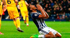 Jose Salomon Rondon of West Bromwich Albion reacts Photo: Getty