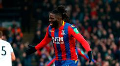 Bakary Sako of Crystal Palace celebrates after scoring his sides first goal Photo: Getty