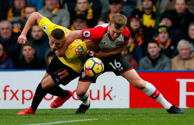 Southampton's James Ward-Prowse in action with Watford's Richarlison Photo: Reuters