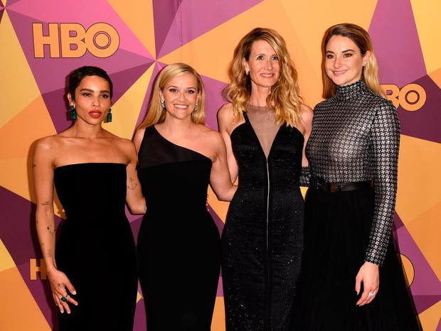 Zoe Kravitz, from left, Reese Witherspoon, Laura Dern, and Shailene Woodley arrive at the HBO Golden Globes afterparty at the Beverly Hilton Hotel last Sunday. Photo: Richard Shotwell/AP