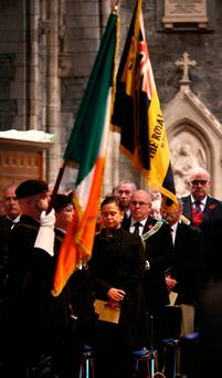 REMEMBERING THE PAST: Sinn Fein's deputy leader Mary Lou McDonald during the annual Remembrance Sunday service at St Patrick's Cathedral last November. Photo: Colin O'Riordannot