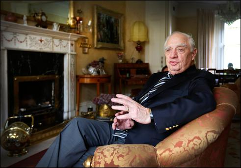 MR GLOBALISATION: Peter Sutherland at home in 2016. Photo: David Conachy