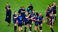 Leinster players congratulate each other and applaud the support following their side's victory