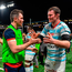 Donnacha Ryan, right, of Racing 92 with Munster captain Peter O'Mahony