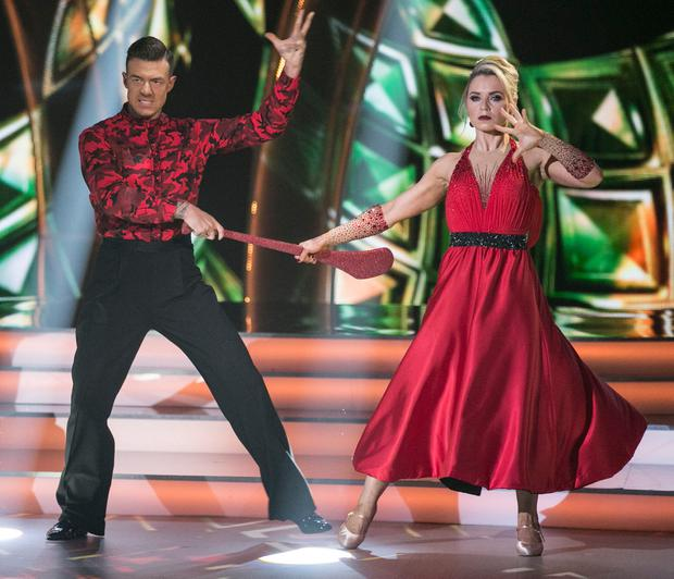 Former Cork Camogie Player and Broadcaster Anna Geary and Kai Widdrington dancing a Tango to 'Rebel Rebel 'by David Bowie during the second show of RTE's Dancing with the Stars. Credit: kobpix