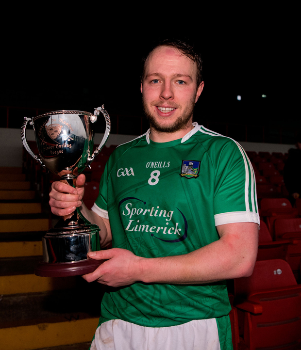 Paul Brown collects the trophy. Photo: Diarmuid Greene/Sportsfile