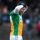 Paul McConway stands dejected after Offaly's two-point defeat. Photo: Sam Barnes/Sportsfile