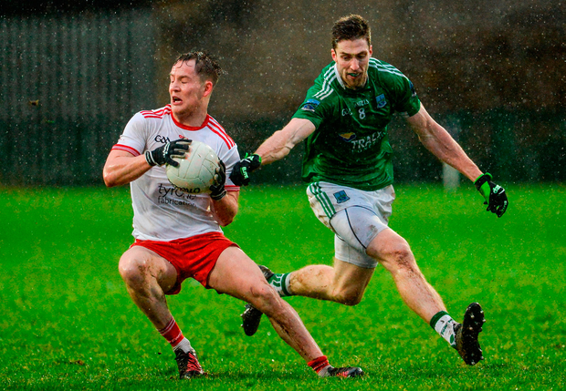 Kieran McGeary of Tyrone in action against Eoin Donnelly of Fermanagh. Photo: Oliver McVeigh/Sportsfile