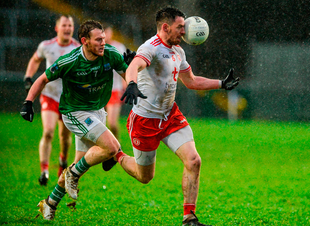 Matthew Donnelly of Tyrone in action against Declan McCusker of Fermanagh. Photo: Oliver McVeigh/Sportsfile