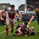 Jacob Stockdale prepares to touch down for an Ulster try during their victory over La Rochelle. Photo: Oliver McVeigh/Sportsfile