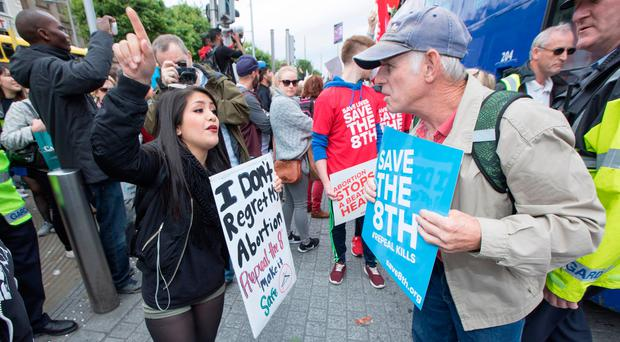 Pro-life and pro-choice supporters confront one another during the 'Rally for Life' march in Dublin last year. Photo: Fergal Philips