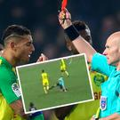 Nantes' Diego Carlos is shown a red card by referee Tony Chapron and (inset) Chapron kicks out