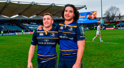 Jordan Larmour, left, and James Lowe of Leinster