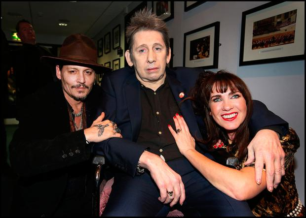 Johnny Depp with Shane MacGowan and Victoria Mary Clarke at his 60th Birthday Celebration Concert at the National Concert Hall . Pic Steve Humphreys 15th January 2018